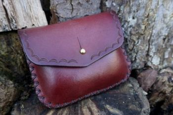 leather mahogany tooled pouch with hand stitched detail be beaver bushcraft
