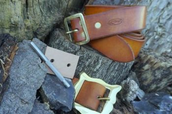 Leather norse patina belt for beaver bushcraft