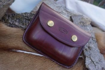 leather hand stitched burgandy leather pouch with press stud fastening by b