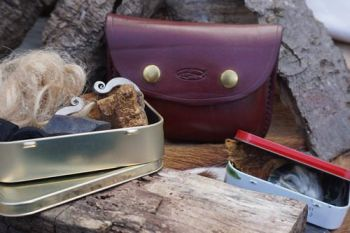 leather hand stitched leather poch with tinder boxes for beaver bushcraft