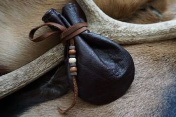 Leather hand dyed leather mahogany medicine pouch for beaver bushcraft