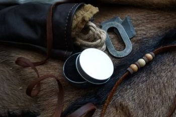 leather soft brown medicine pouch close up detail by beaver bushcraft