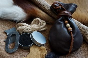 Fire and leather tinder pouch with soft leather medidcine pouch for beaver