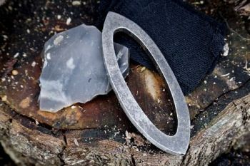 Fire pointed oval fire steel with flint made by beaver bushcraft