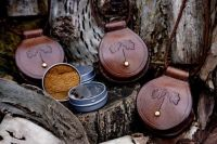 Beaver Bushcraft 1-3/4 Inch Mini Round Tin Traditional 'Flint & Steel' Tinderbox with Leather Pendant Case - Saddle Stitched (85-2042)