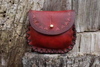 leather hand tooled hand dyed red ombre leather possibles pouch made by bea
