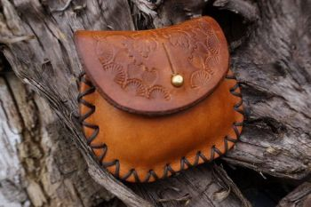 leather mini hand tooled hazel brown pocket mini poch made by beaver bushca