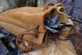 leather soft camal suede tinder pouch hand crafted by beaver bushcraft