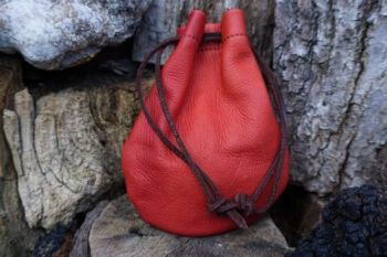 leather hand dyed red cherry possibles pouch by beaver bushcraft