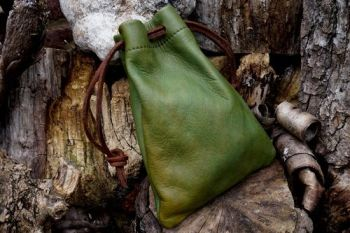 leather hand dyed green sludge tinder pouch for fantasy dragon by beaver bu
