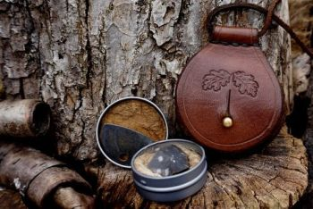 leather and fire mini tinderbox pendant made by beaver bushcraft