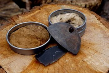 Beaver Bushcraft 1-3/4 Inch Mini Round Tin Traditional 'Flint & Steel' Tinderbox (85-3040)