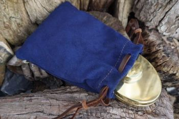leather soft blue seued tinder pouch with leather beads by beaver bushcraft