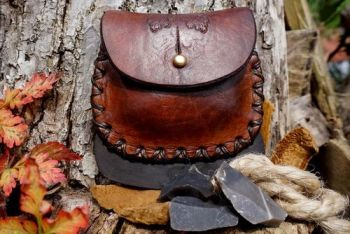 Fire hand dyed hand tooled with acorns leather tinderbox with stiker sewn i