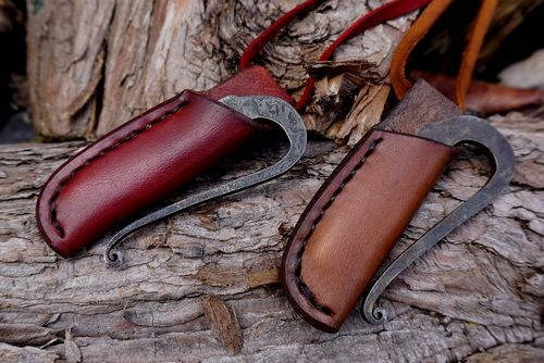 Hand Stitched - Leather Neck Sheath with Traditional 'R' Shaped Fire Steel