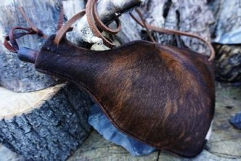 leather handmade skin animal hide leather bottle made by beaver bushcraft