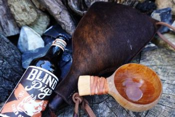 leather handmade bottle made from animal hide by beaver bushcraft