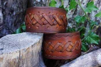 NEW - Hand Crafted X Stitch Leather Celtic Style Cuffs by Beaver Bushcraft - Hazel Brown