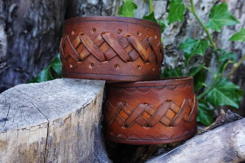 NEW - Hand Crafted X Stitch Leather Celtic Style Cuffs by Beaver Bushcraft