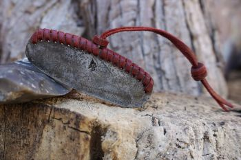 Fire hand braided fire steel in red leather with bead detail by beaver bush