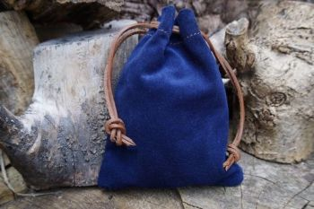 Fire soft leather suede tinder pouch in royal blue by beaver bushcarft