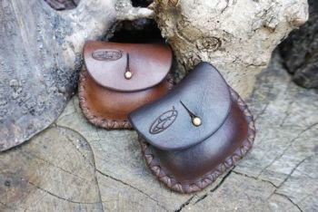 leather hand stitched little tinder pouches rustic hand stitched by beaver