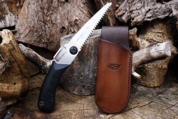 Cutting mini leather saw sheath left hand with open saw by beaver bushcraf