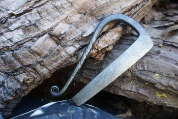 Twisted Tang Flint & Steel Fire Striker with Curl - Hand Forged