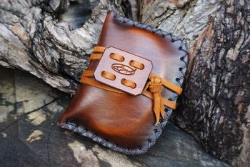 leather pioneering pouch hand dyed tinder pouch and hand stitched by beaver
