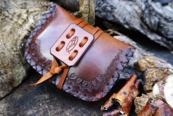 leather hand tooled pioneering pouch hand dted by beaver bushcraft in rich