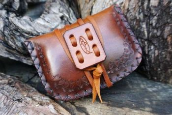 leather hand tooled pioneering hand dyed tinder pouch made by beaver bushcr