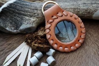 leather natural russtt solar pendant hand laced with tinder by beaver bushc