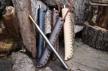 fire and leather fire storm hand dyed sheaths hand crossed stitched by beav