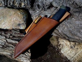 Sample- light brown mora sheath with fire steel loop