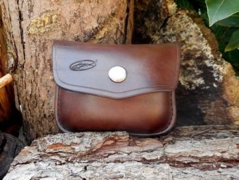 leather-1oz possibles pouch in brown hand saddle stitched brass stud