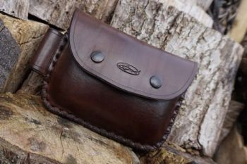 leather 2oz cross stitched brown with fire steel loop for beaver bushcraft