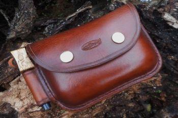 leather bespoke 2oz saddle stitched pouch by beaver bushcraft