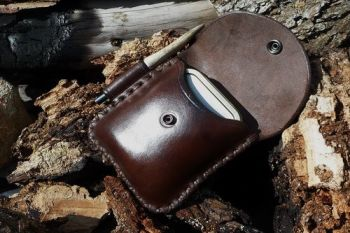 leather bespoke cross titched potrait style possiles pouch by beaver bushcr