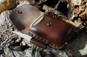 leather bespoke portrait style pouch cross stitched by beaver bushcraft