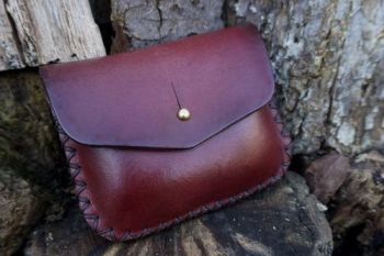 BESPOKE - 1oz Tin 'Possibles' Hand Stitched Leather Belt Pouch - CROSS STITCHED (45-5042)