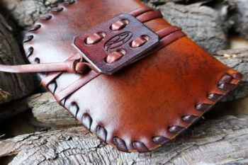 leather ready made laced chestnut brown close up pioneering pouches for bea