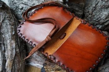 leather ready made laced open pioneering pouches for beaver bushcraft
