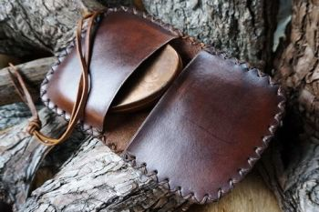 leather ready made pioneering pouches rustic walnut brown open for beaver b