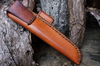 Cutting hand stitched leather sheath for beaver bushcraft & surviavl knife