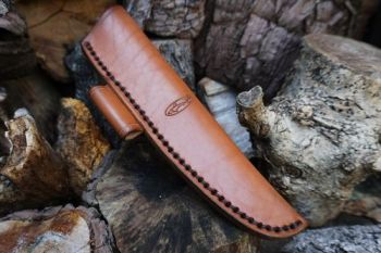 Cutting beaver bushcraft & survival knife showing detail of new sheath for