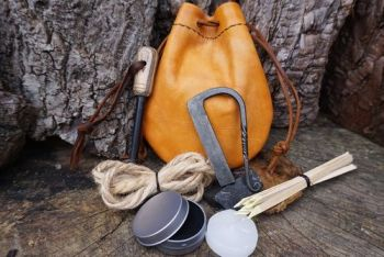 fire beaver bushcraft faded leather tinder pouch full fire lighting kit