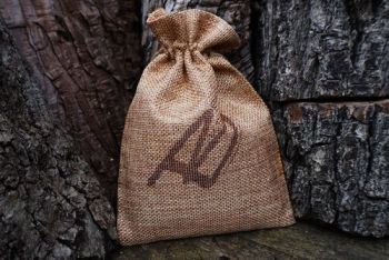 fire hessian pouch for starter kit for beaver bushcraft