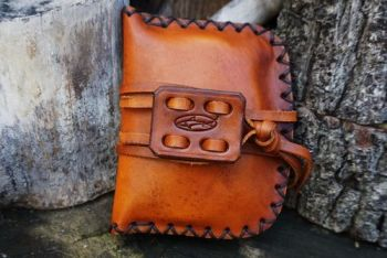 leather ready to go pouch for the hudson bay hand stitched by beaver bushcr