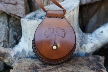 fire hand stitched oak leaf design leather tinder box by beaver bushcraft