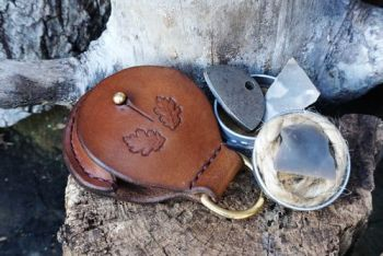 fire and leather D ring mini tinderbox pendant with D ring for beaver bushc